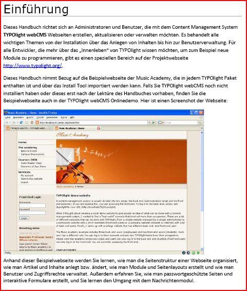 PDF-Handbuch für TYPOlight